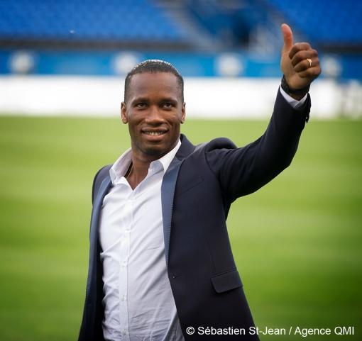 Didier Drogba (11), nouveau joueur de soccer de l'Impact de Montréal, lors d'une conférence de presse, au Stade Saputo, à Montréal, Québec, Canada, le jeudi 30 juillet 2015. SÉBASTIEN ST-JEAN/AGENCE QMI