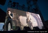 Spectacle extérieur de Yann Perreau, avec Pierre Kwenders, Laurence Nerbonne et Philippe Brach, dans le cadre des Francofolies, à Montréal, Quebec, Canada, le lundi 12 juin 2017. Sur cette photo: Yann Perreau SEBASTIEN ST-JEAN/AGENCE QMI