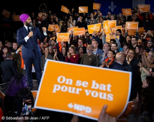 NDP Leader Jagmeet Singh at a NDP Rally, in Montreal, Quebec, Canada, on Wednesday October 16, 2019.